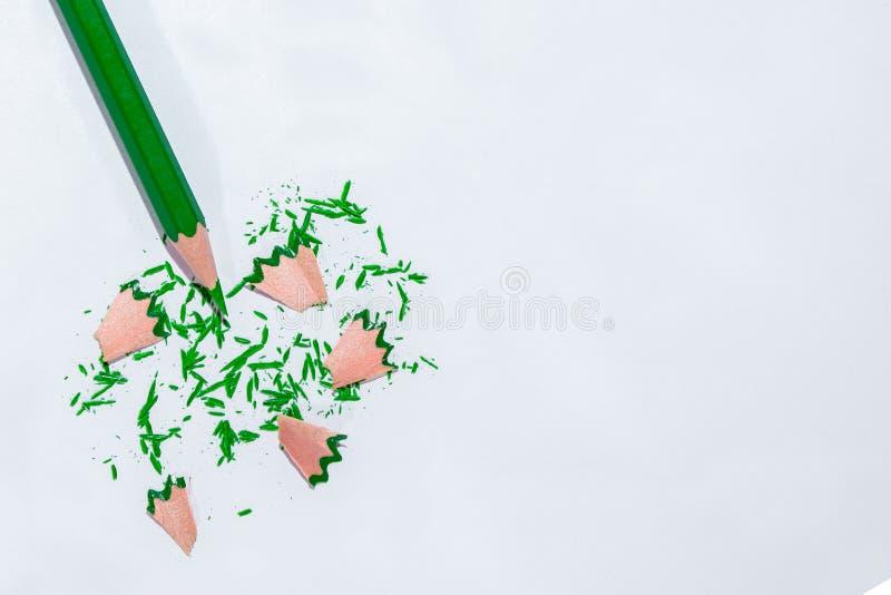 Groen potlood na de slijper royalty-vrije stock foto