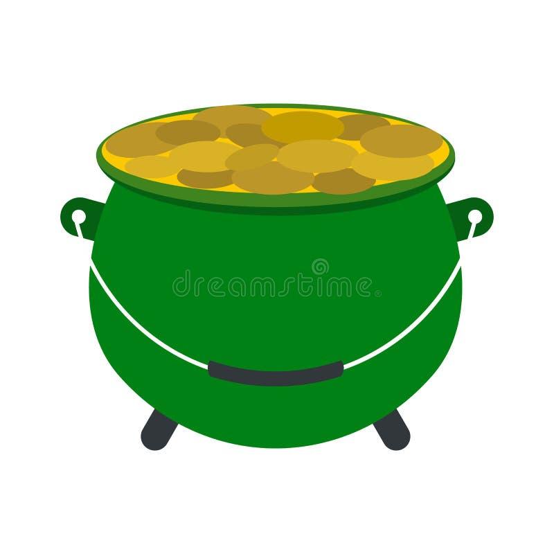 Groen pottenhoogtepunt van gouden muntstukkenpictogram royalty-vrije illustratie