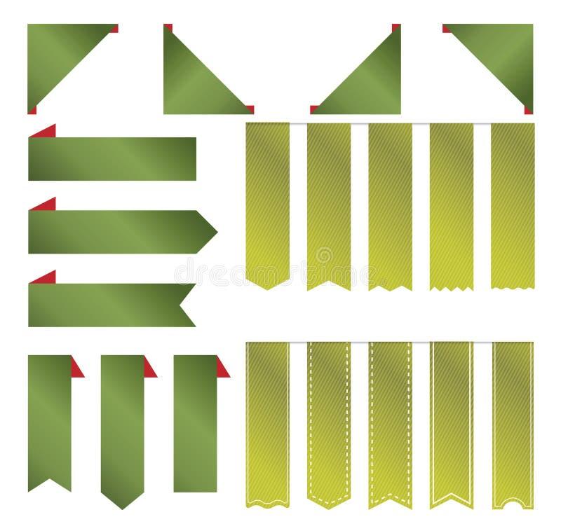 Groen premie leeg lint voor de markeringen en de etiketten van het Kerstmisproduct stock illustratie