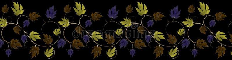 Groen, Purper, Koper en Bladgouden en Wijnstokgrens vector illustratie