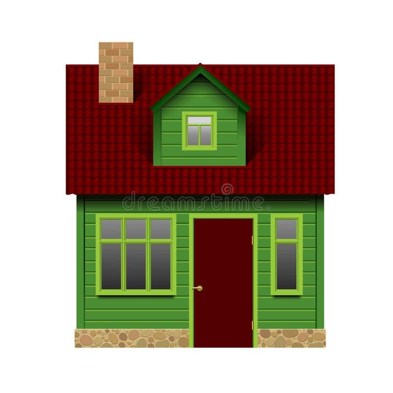 Groen realistisch die huis in vooraanzicht op wit wordt geïsoleerd stock illustratie