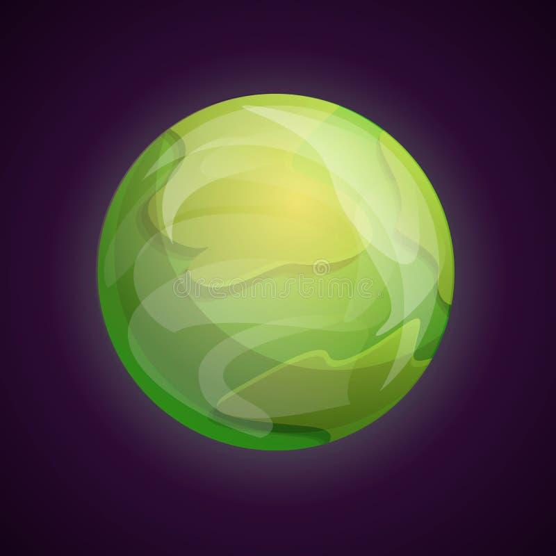 Groen ruimteplaneetpictogram, beeldverhaalstijl royalty-vrije illustratie