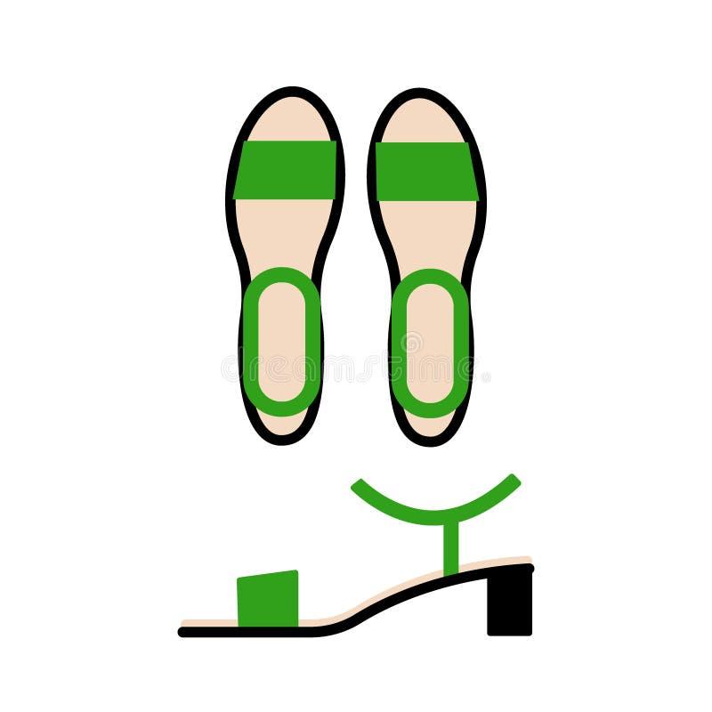 Groen sandals hoogste en zijaanzicht De toevallige schoenen van vrouwen stock illustratie
