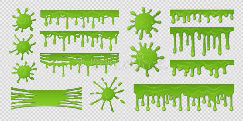 Groen Slijm Vuile goo splat, de realistische geïsoleerde ontwerpsjabloon van de verfvlek plons, giftig slijmerig slijm Groene vec royalty-vrije illustratie