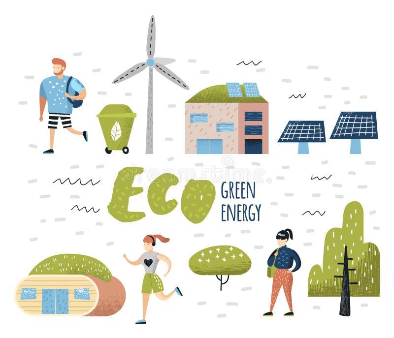 Groen Stadsconcept Milieubehoud De Toekomstige Technologieën van de Ecostad voor Behoud van de Planeet vector illustratie