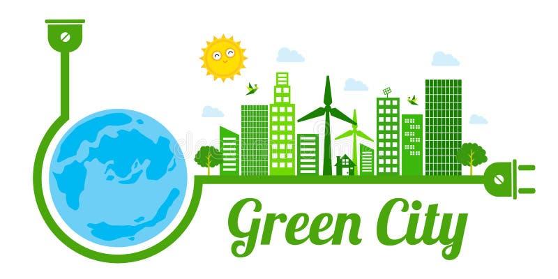 Groen stadsembleem royalty-vrije illustratie