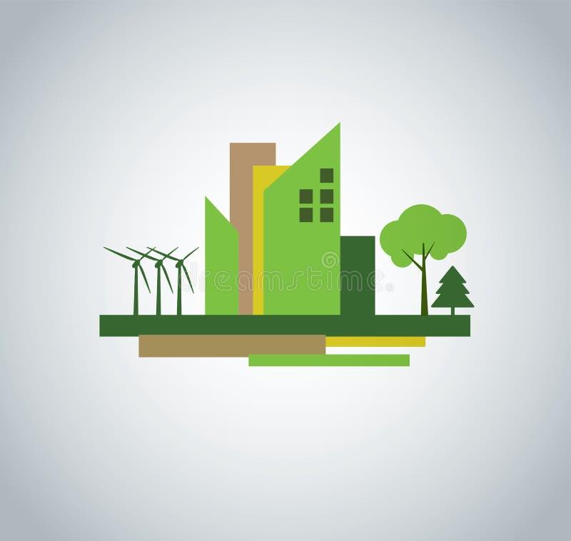 Groen stadsontwerp stock illustratie