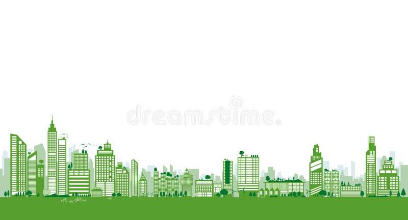 Groen stadsontwerp van de bouw en boom met van het exemplaar het ruimteaarde en milieu concept van de dagecologie stock illustratie