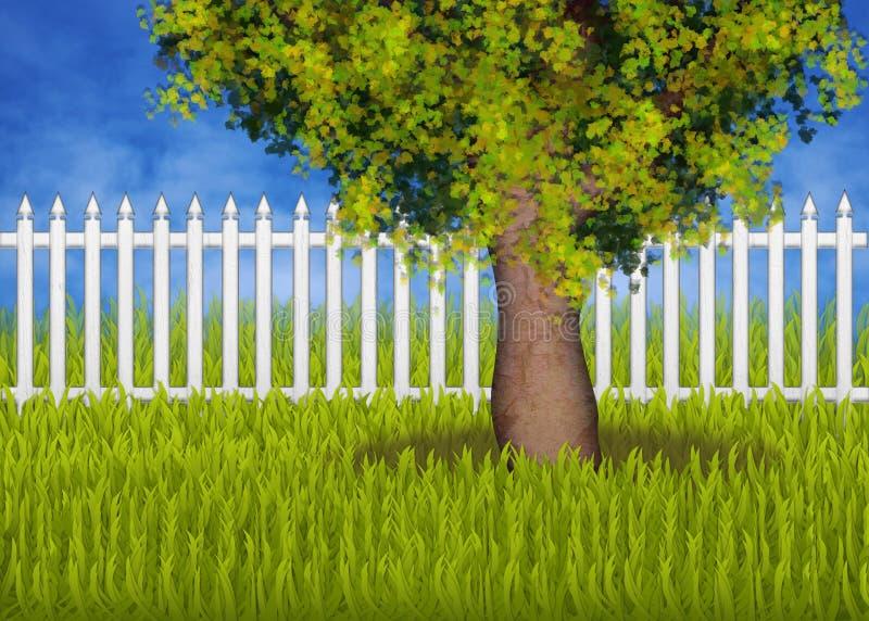 Groen summergarden met omheining en boom royalty-vrije illustratie