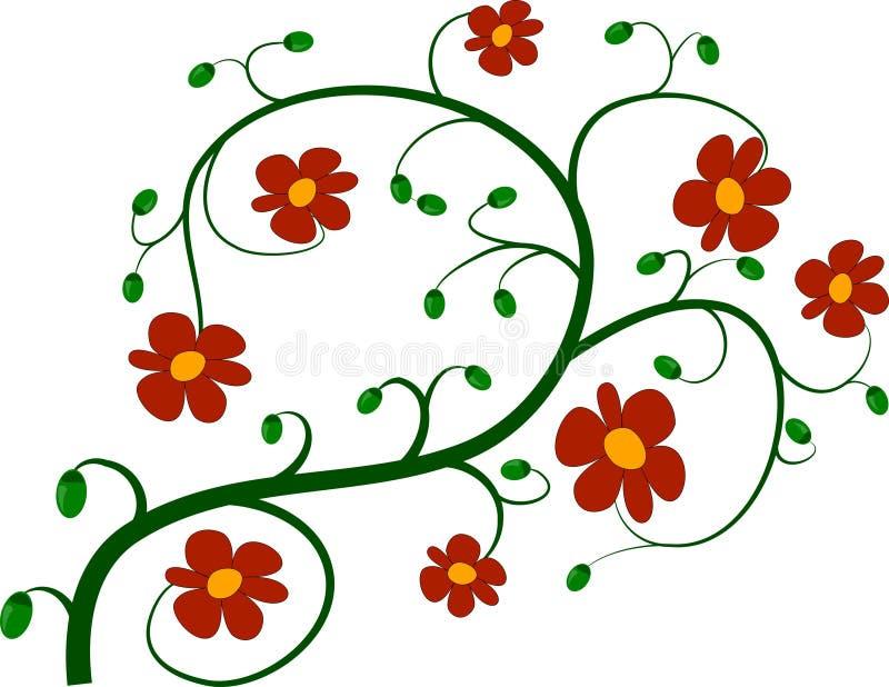 Groen takje en rode bloemen vector illustratie