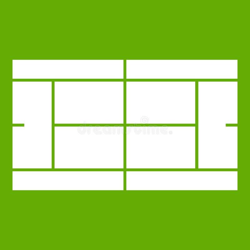 Groen tennisbaanpictogram stock illustratie