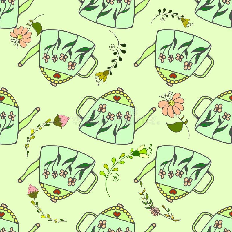 Groen theepotten leuk naadloos patroon royalty-vrije illustratie
