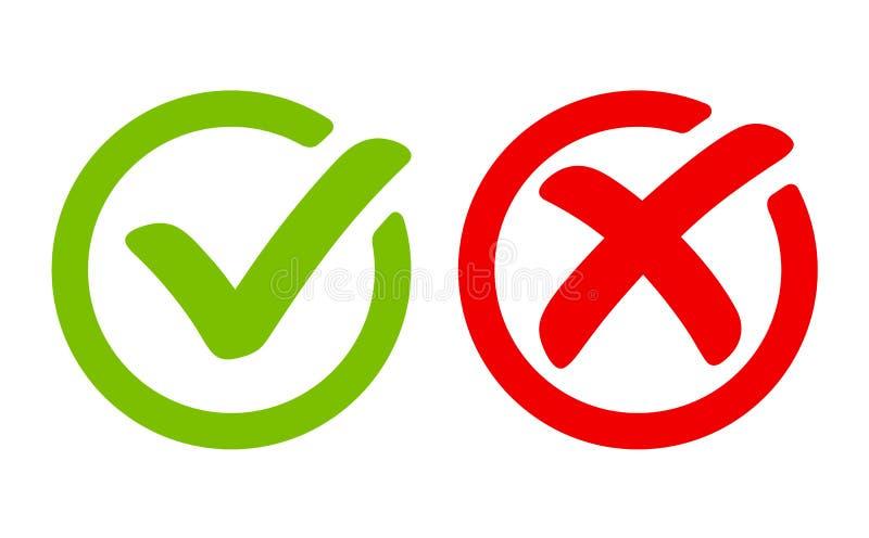 Groen tiksymbool en rood kruisteken in cirkel Pictogrammen voor evaluatiequiz Vector stock illustratie