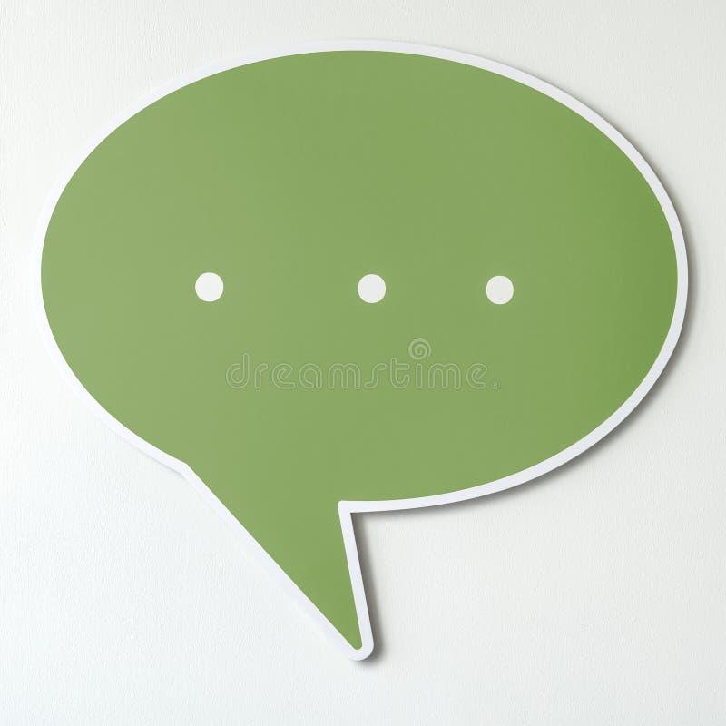 Groen toespraakbel verwijderd pictogram stock fotografie