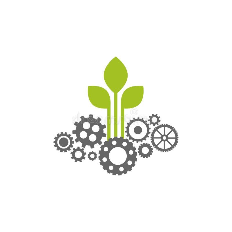Groen toestel met grijs tikpictogram Vector vlakke illustratie voor technologie of innovatie vector illustratie