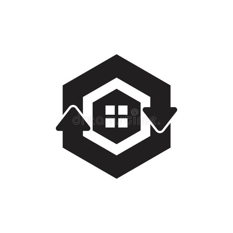 Groen verfris vector van het het symboolembleem van de huis de hexagonale pijl vector illustratie