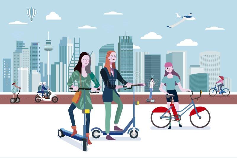 Groen vervoer in slimme stad royalty-vrije illustratie