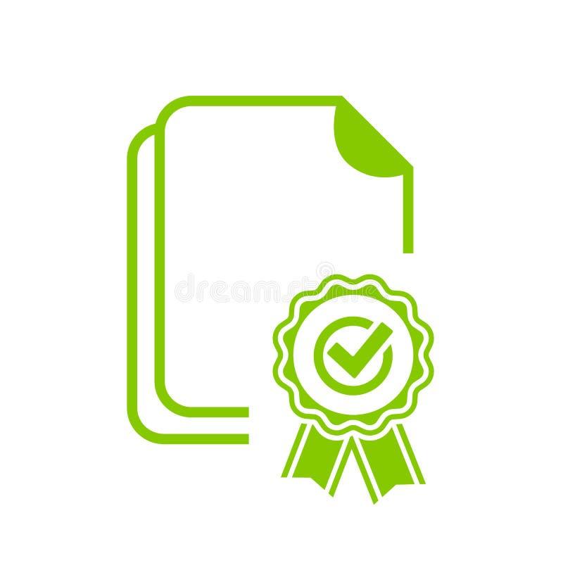 Groen verzegeld certificaat vectorpictogram royalty-vrije illustratie