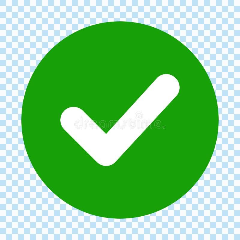 Groen vinkje in cirkel Vlak Ontwerp Geïsoleerde vector illustratie