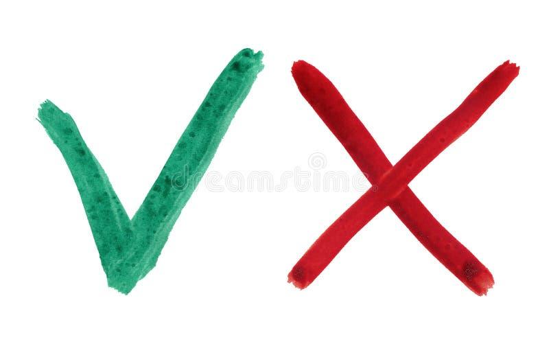 Groen vinkje en rood kruis op witte achtergrond royalty-vrije stock afbeeldingen