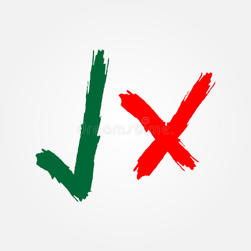 Groen vinkje en rood kruisteken Borstel, grunge royalty-vrije illustratie