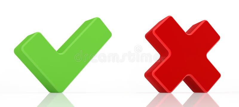 Groen vinkje en rood x-teken royalty-vrije illustratie