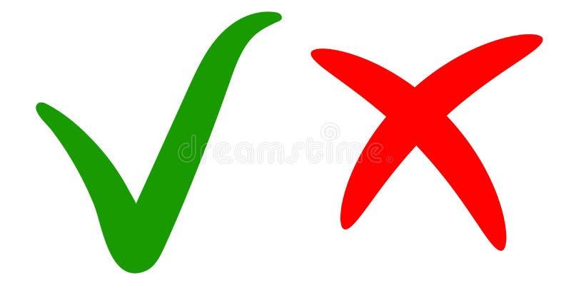 Groen vinkje, o.k. tekengoedkeuring, juiste keus, de weigering van het rood kruisteken, vectortik en dwarshand getrokken kalligra vector illustratie