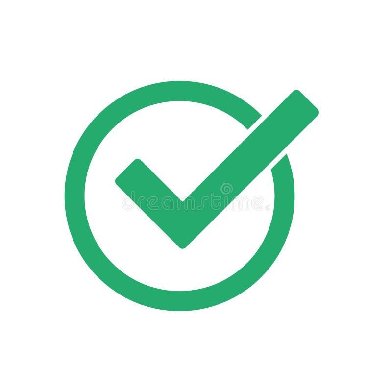 Groen vinkje vectorpictogram eps10 Groen vinkjepictogram in een cirkel Tiksymbool in groene kleur, vectorillustratie N stock illustratie