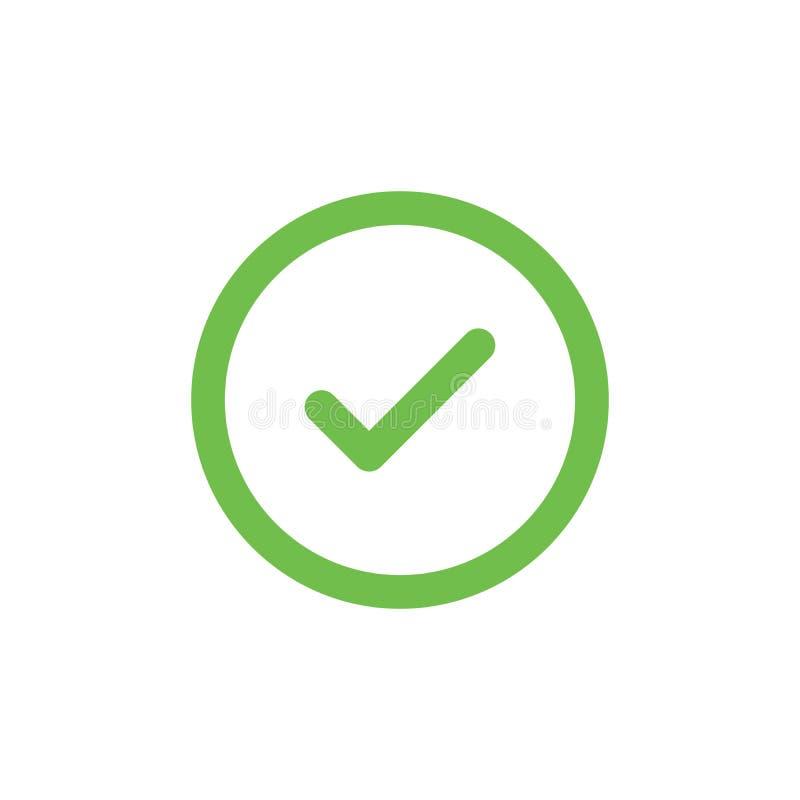 Groen vinkjepictogram in een cirkel Tiksymbool in groene kleur, vectordieillustratie op witte achtergrond wordt geïsoleerd vector illustratie