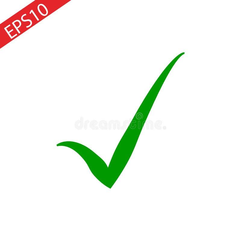 Groen vinkjepictogram Tiksymbool in groene kleur Vector illustratie stock illustratie