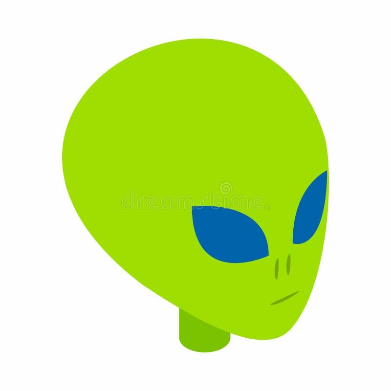Groen vreemd hoofd 3d isometrisch pictogram stock illustratie
