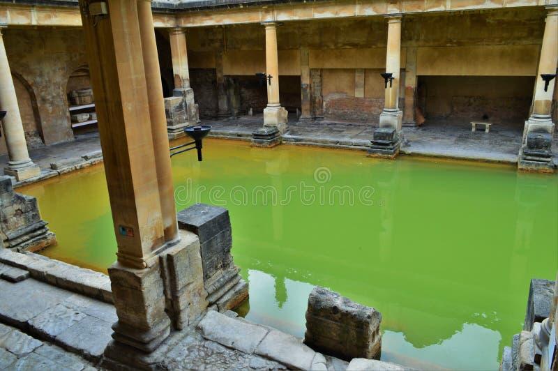 Groen Water in Roman Baths stock fotografie
