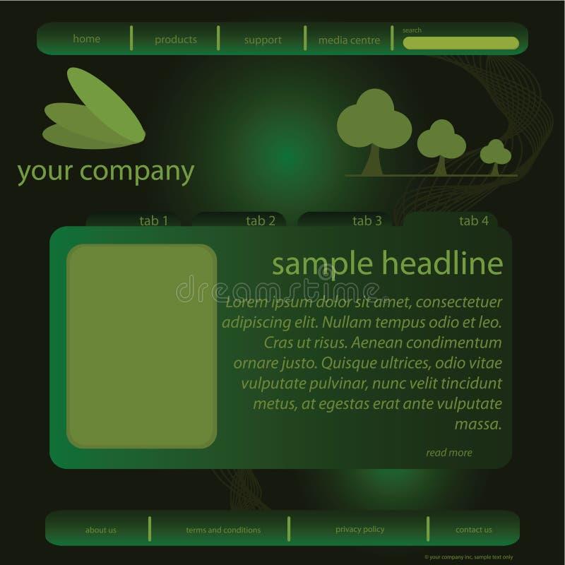 Groen websitemalplaatje vector illustratie