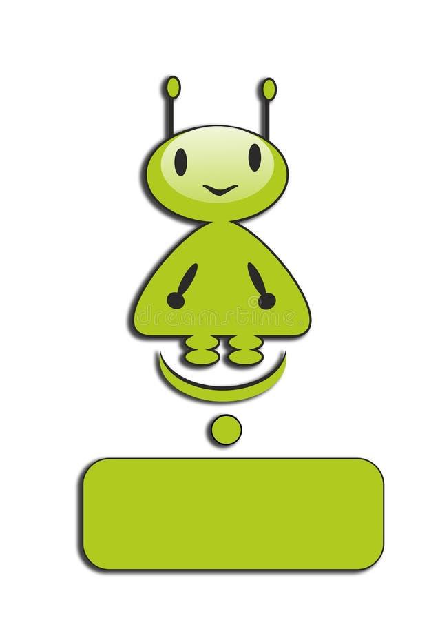 Groen weinig mens, humanoid, vreemder, grappig, glimlachend, fantastisch karakter, stock illustratie