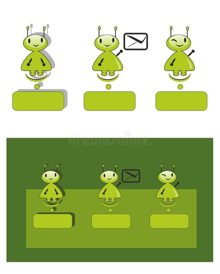 Groen weinig mens, humanoid, vreemder, grappig, glimlachend, fantastisch karakter, royalty-vrije illustratie