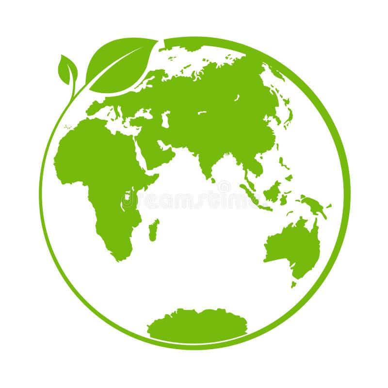 Groen wereld, embleem of malplaatje voor ontwerp en decoratie stock illustratie