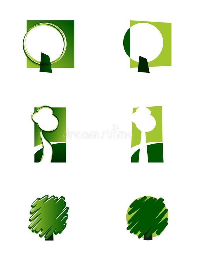 Groen-witte pictogrammenboom stock illustratie