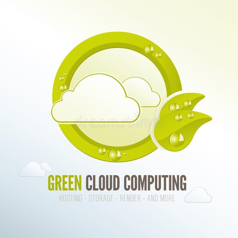 Groen wolk gegevensverwerkingskenteken voor efficiënte technologie op energiegebied royalty-vrije illustratie
