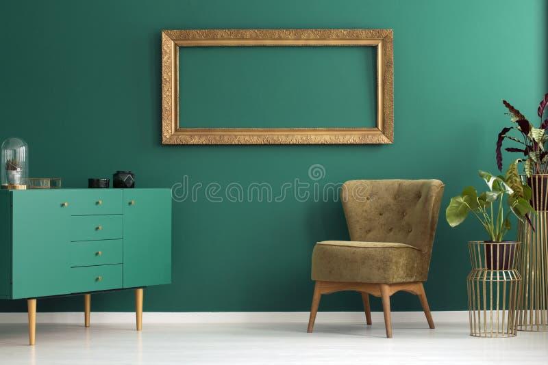 Groen woonkamerbinnenland royalty-vrije stock foto
