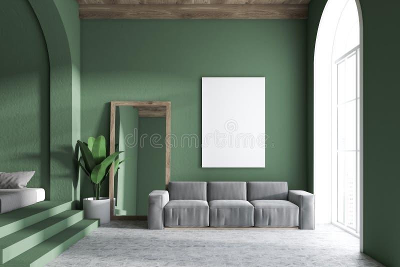 Groen woonkamerbinnenland, spiegel en affiche vector illustratie