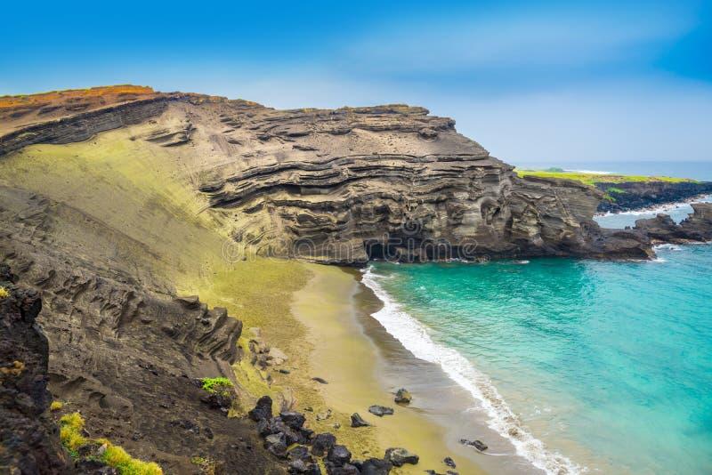 Groen zandstrand, Groot Eiland, Hawaï stock foto's