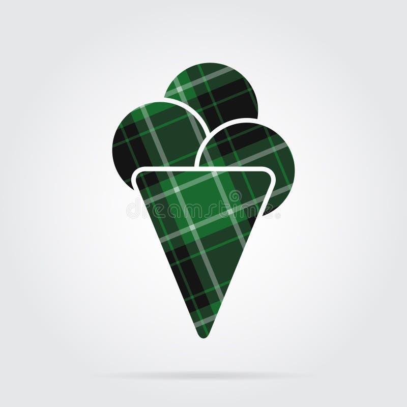 Groen, zwart geruit Schots wollen stofpictogram - roomijs, drie lepels stock illustratie