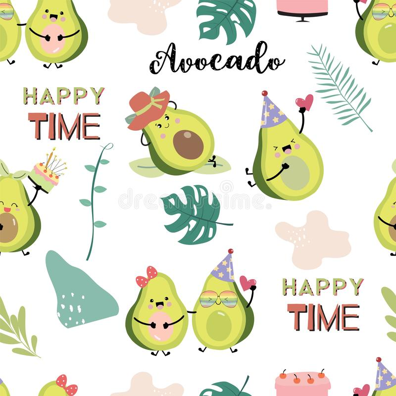 Groenachtig blauw avocado naadloos patroon met blad De vectorillustratie van het avocadopaar voor achtergrond, frabic behang, stock fotografie