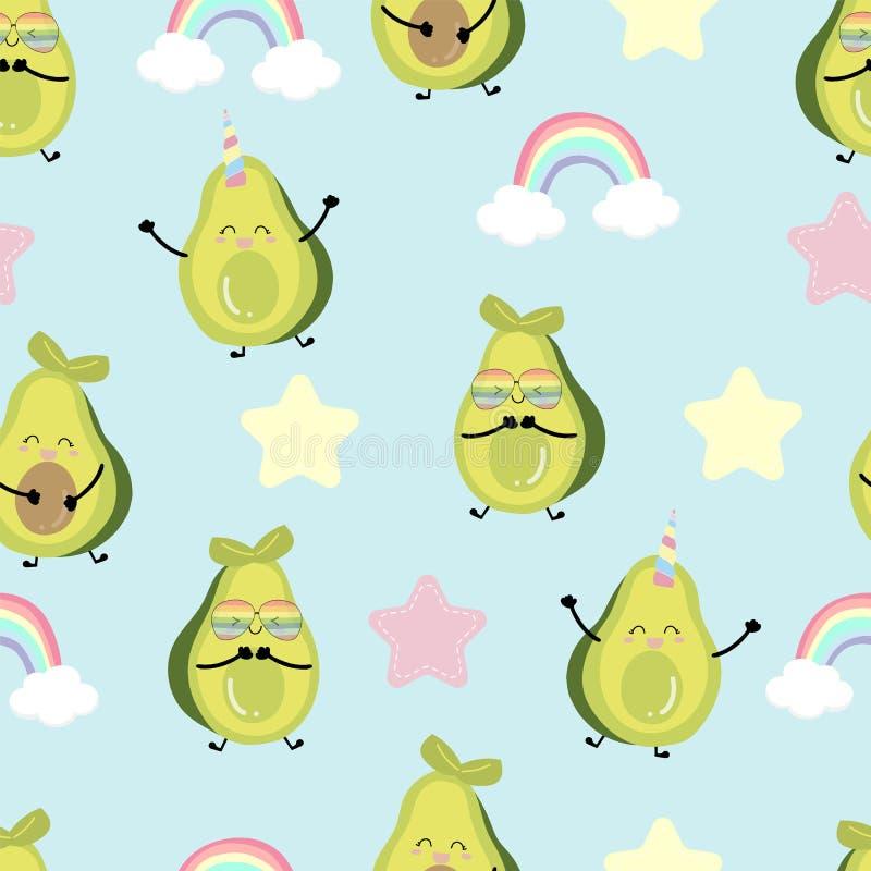 Groenachtig blauw avocado naadloos patroon met regenboog en hart De vectorillustratie van het avocadopaar voor achtergrond, frabi stock afbeelding