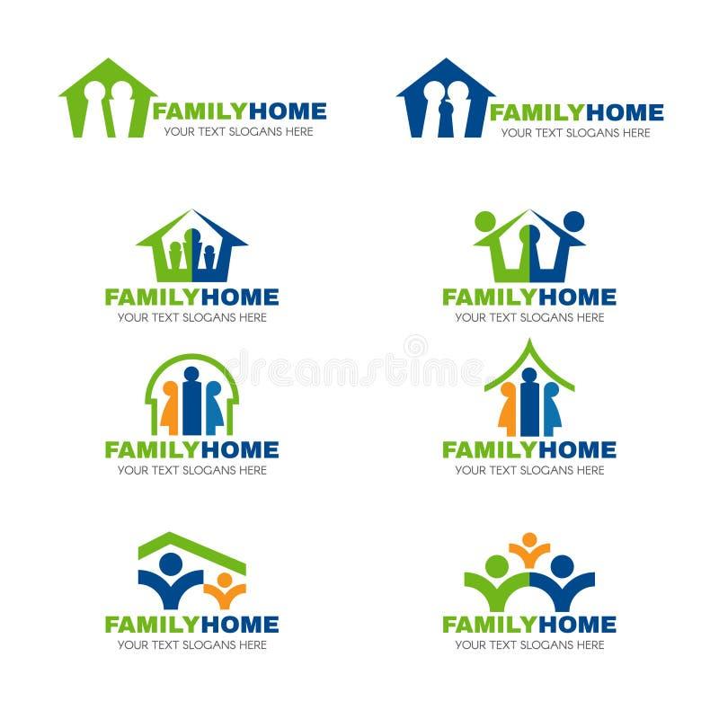 Groenachtig blauw en oranje het embleem vector vastgesteld ontwerp van het familiehuis royalty-vrije illustratie