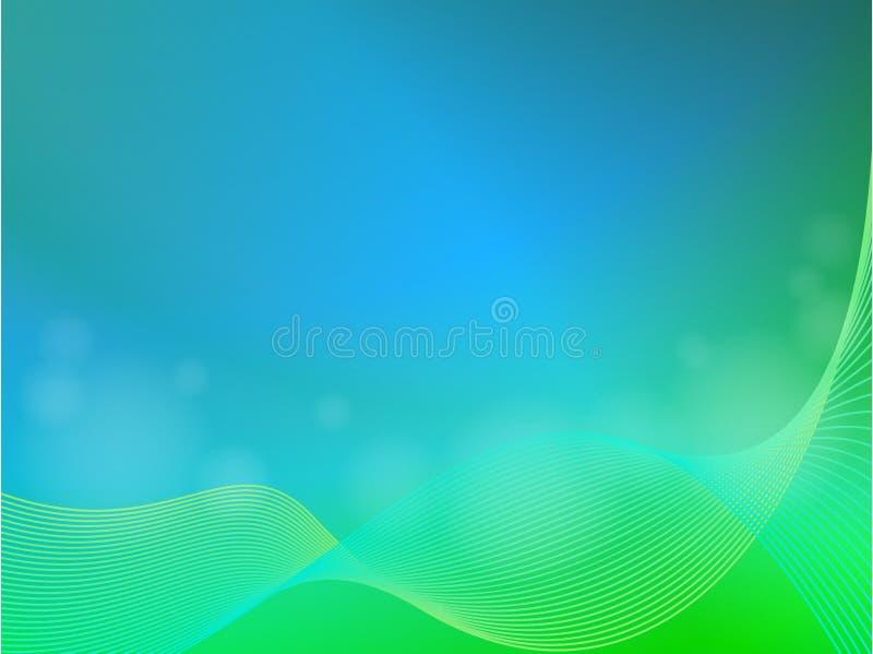 Groenachtig blauwe abstracte lichte achtergrond met golf royalty-vrije illustratie