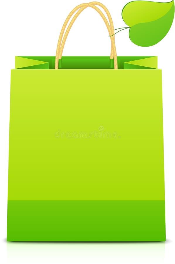 Groenboek het winkelen zak met blad op handvat stock illustratie
