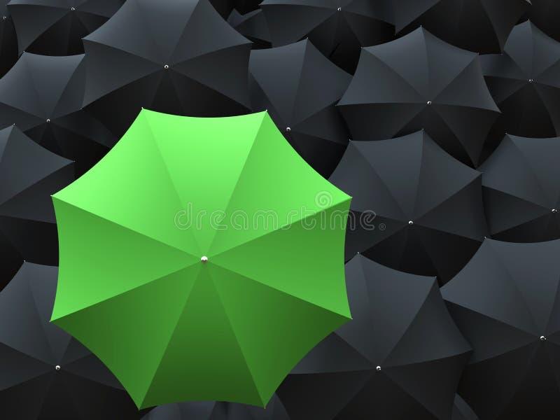 Groene één en vele zwarte paraplu's royalty-vrije illustratie