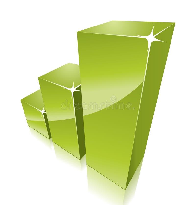 Groene 3d grafiek die groeit royalty-vrije illustratie