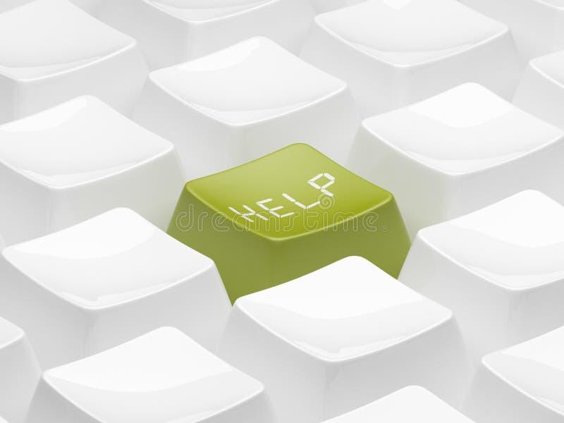 Groene 3d sleutel voor hulp. Geïsoleerdp royalty-vrije illustratie